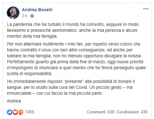 Andrea Bocelli, Covid, sangue, plasma,